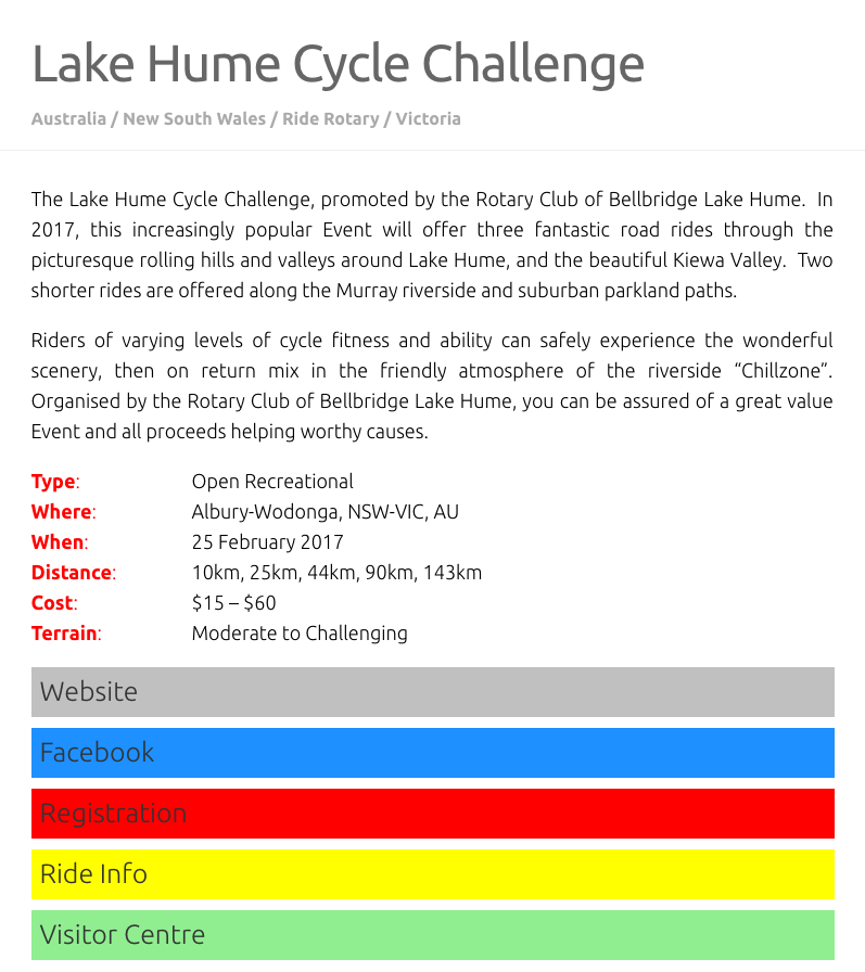 Cycleevents Fast Facts